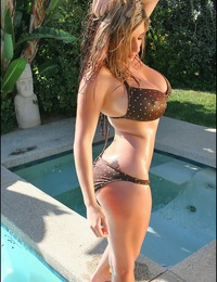 September Carrino in a Brown Bikini