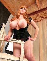 Sizzling blonde Sara flaunts her 34GG huge boobies